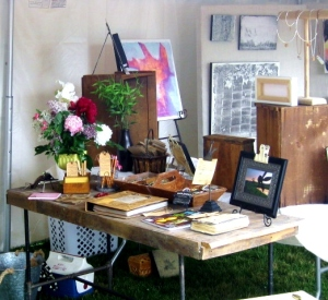 Junkin' Journey and Michelle Waters filled a tent with their amazing art.